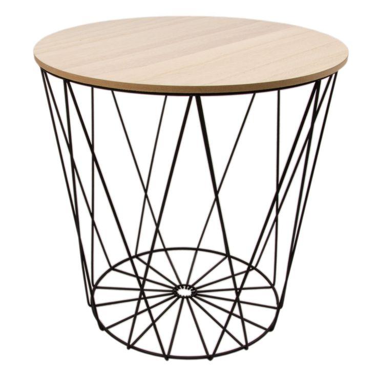 Amazon De Tisch Design Beistelltisch Drahtkorb Metall Mit