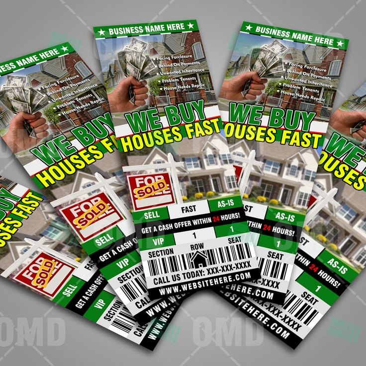 We Buy Houses Ticket Style Promotion by Real Estate Lead Generator #realestatemarketing