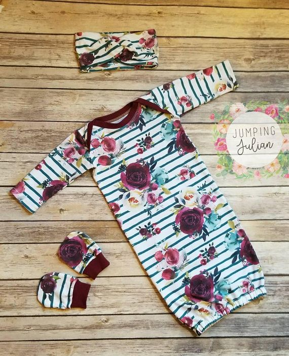 Autumn Baby Gown, Teal, Stripe https://www.etsy.com/listing/571120265/autumn-floral-baby-gown-baby