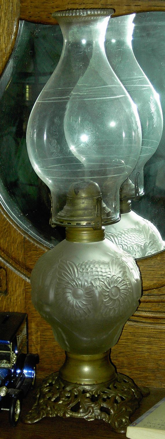 Vintage owl lamps - Antique Oil Lamp Frosted Owl Font On Cast Bronzed By Micor 128 00