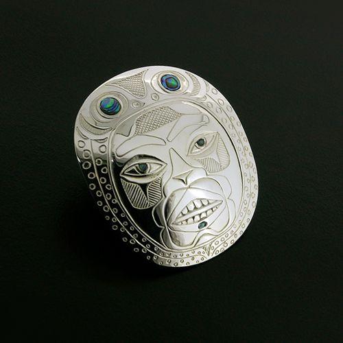 """Trance"" Silver Pendant by Haisla artist Barry Wilson. With Abalone Inlay. 2"" x 1 3/4"".  $700.00 CDN."