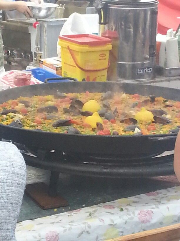 Seafood paella almost ready...
