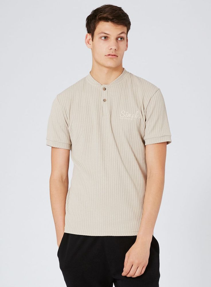 SIMPLE CLOTHING Light Brown Ribbed Polo Shirt*