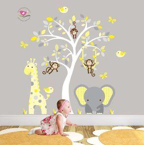 Jungle Decal feat. cheeky monkey a giraffe by EnchantedInteriorsUK