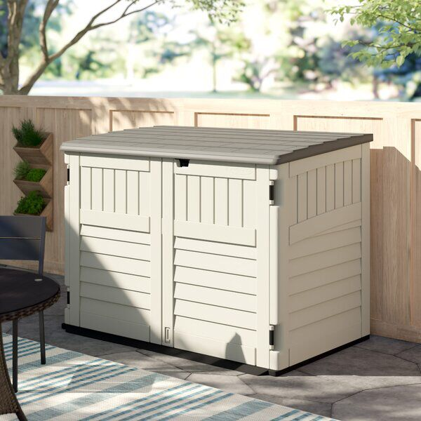 Resin Outdoor 2 Container 6 Ft W X 4 Ft D Plastic Horizontal Garbage Storage Shed In 2020 Plastic Storage Sheds Garbage Storage Garbage Shed