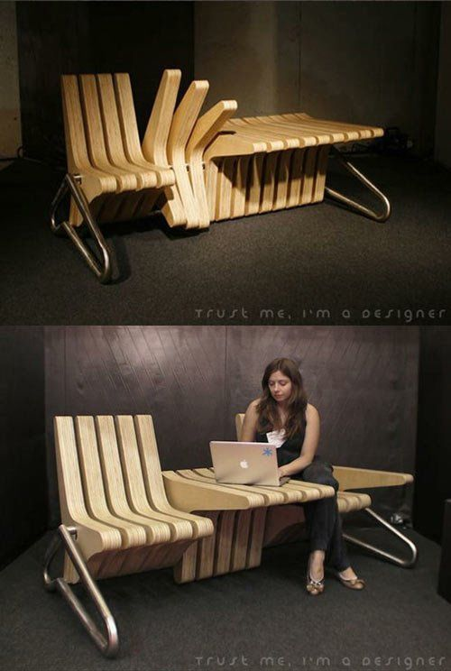 ~ Smart space use - Coffee bench © Karolina Tylka 2002 (cushion concept that would not be in the way needed - foldable?)