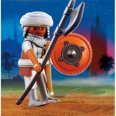 Playmobil Arabian Warrior by Playmobil. $7.99. 3.9 x 3.9 x 1.4 inches. The Playmobil Arabian Warrior is a brave warrior ready to go to battle! The Playmobil Specials are a great way to add onto a child's Playmobil collection a little bit at a time, or to mark a special occasion or event. Playmobil toys offer children everything they need for imaginative play. Every box contains well-crafted, highly detailed, plastic toys for kids to pretend with. Build a world of Playmobil with t...