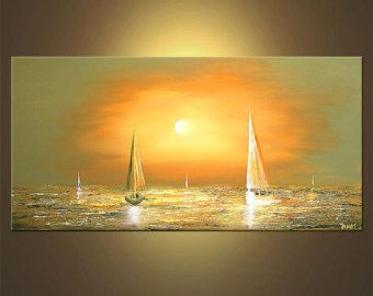 """Sailboat Painting Abstract Seascape Original Acrylic Painting by Osnat - MADE-TO-ORDER - 48""""x24"""""""
