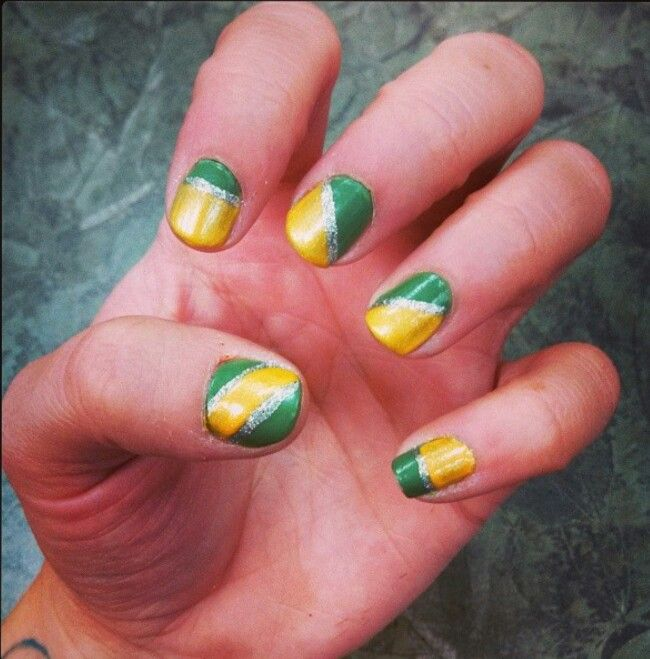 Green bay packer nails. I like the diagonal with silver striping