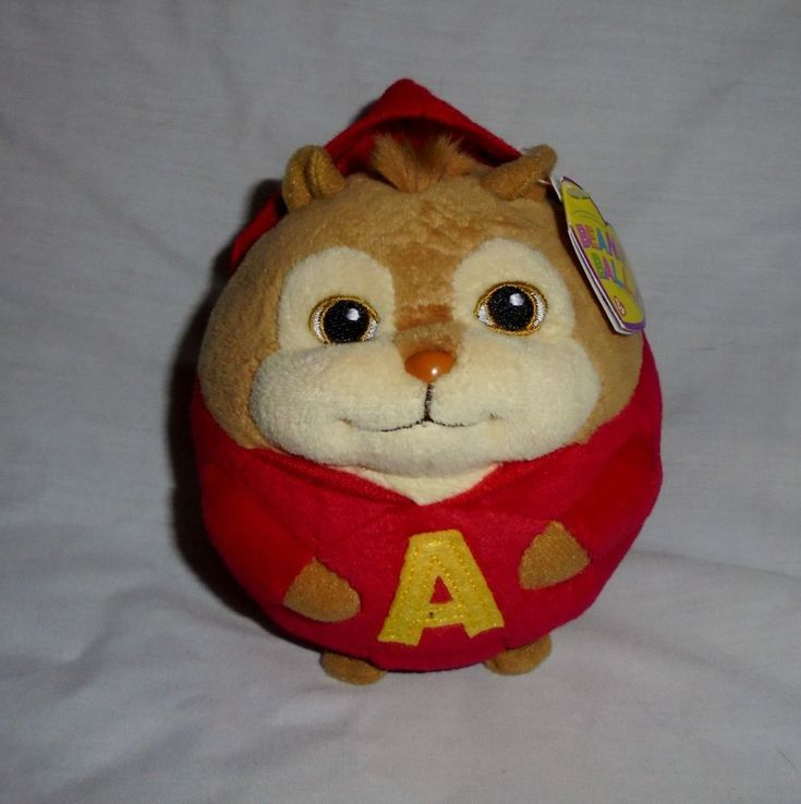 """2012 TY Beanie Ballz  5"""" Round Plush Alvin The Chipmunk-Tags Attached #TY"""