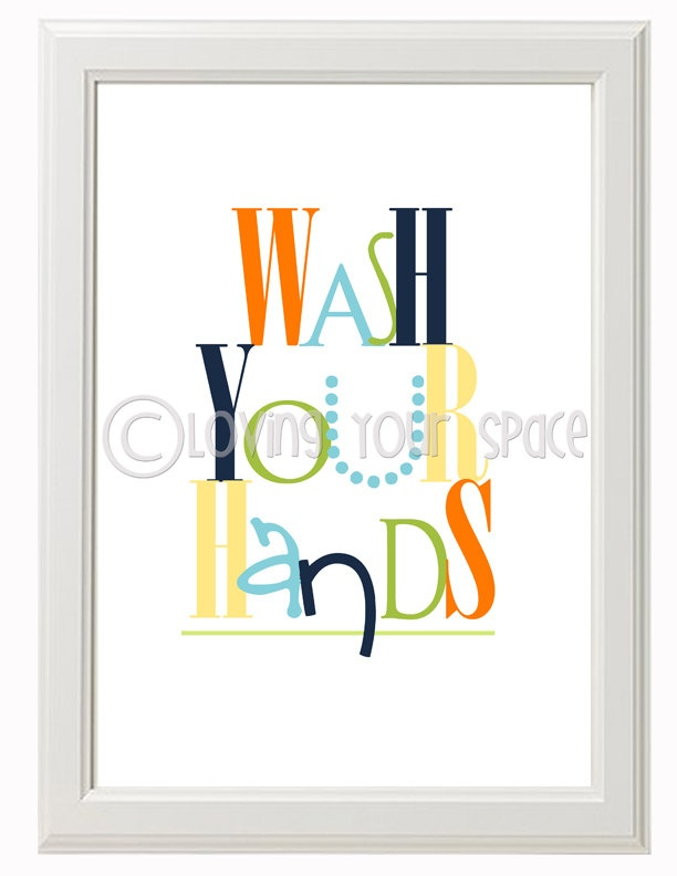 Printable kids bathroom wall art set of 3 2 8x10 1 5x7 for Bathroom decor etsy