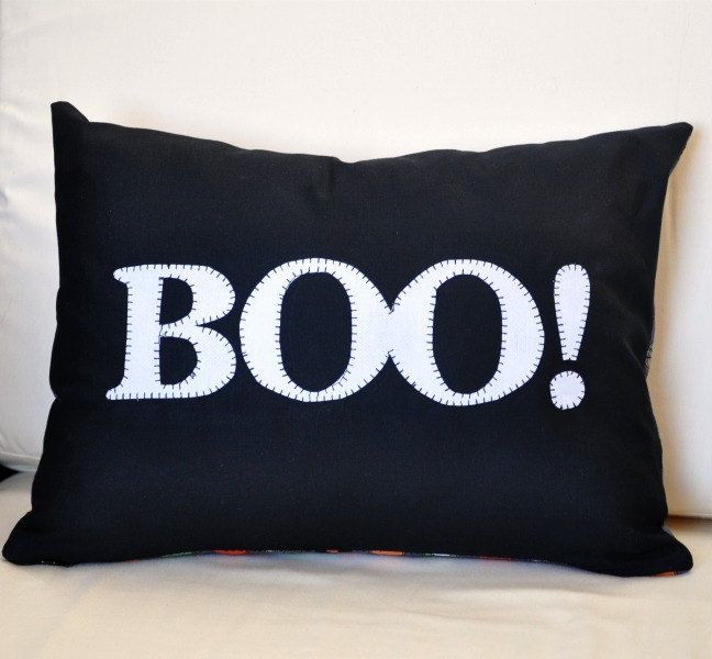 Handmade Halloween pillow cover. #MarthaStewartLiving
