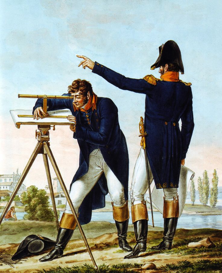 French Army 1812 Georgraphical Engineer Officers Surveying by Vernet