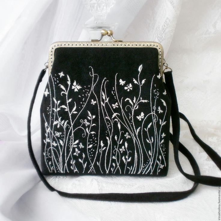 Купить Сумочка из ткани с фермуаром, ручная вышивка Монохром - сумочка, сумка, сумка ручной работы