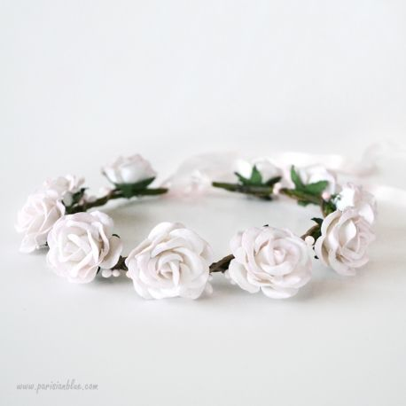 couronne derose blanche mariage 2017 paris couronne de fleur rose poudre ceremonie enfant cortege demoiselle honneur