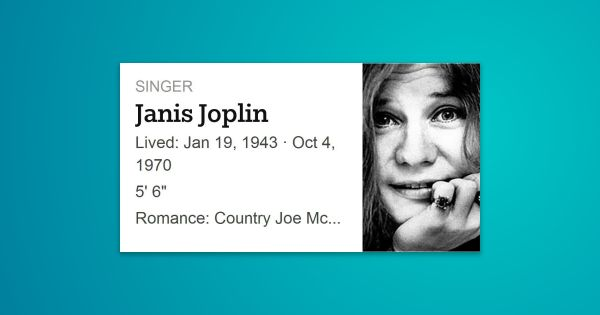 Janis Lyn Joplin was an American rock singer and songwriter. She was one of the biggest female rock stars of …