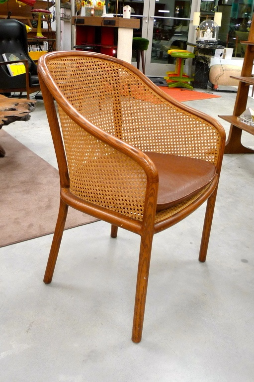 Ward Bennet Caned Arm Chair With Original Leather Seat