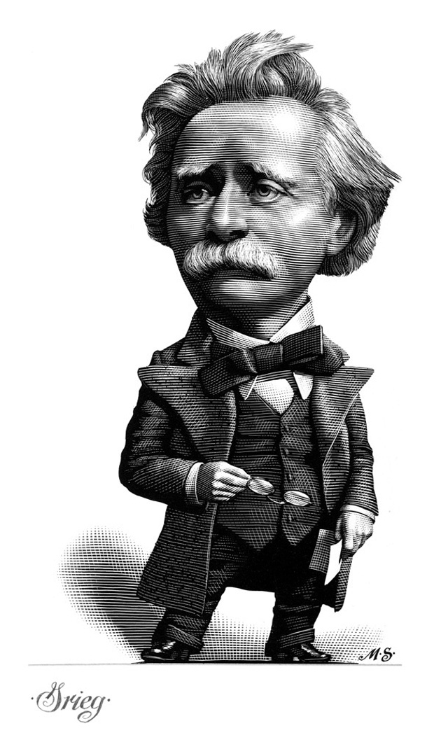 Composers Caricatures by Mark Summers, engraving, Grieg