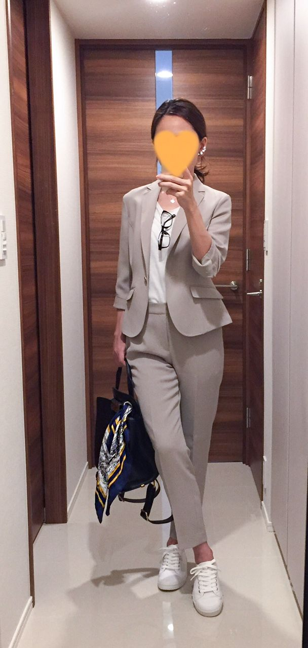 Beige suits: NewYorker White tee: Landsend Bag: Zac posen White sneakers: Spring court