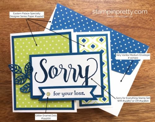 Sorry For Everything Stamp Set, Bunch of Banners Framelits & Flourish Thinlits Sympathy Card.  Mary Fish, Stampin' Up! Demonstrator.  1000+ StampinUp & SUO card ideas.  Read more https://stampinpretty.com/2017/07/sorry-everything-sympathy-card.html