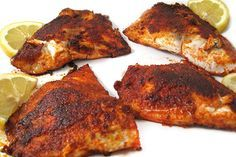Fantastic, Skinny Blackened Tilapia! The seasonings are perfect with just a hint of spice. The tilapia is pan fried in heart-healthy olive oil. Each serving,195 calories, 7g fat and 5 Weight Watchers POINTS PLUS. http://www.skinnykitchen.com/recipes/fantastic-skinny-blackened-tilapia/