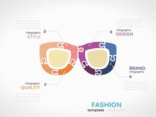Fashion infographic template with eyeglasses symbol model made out of jigsaw pieces