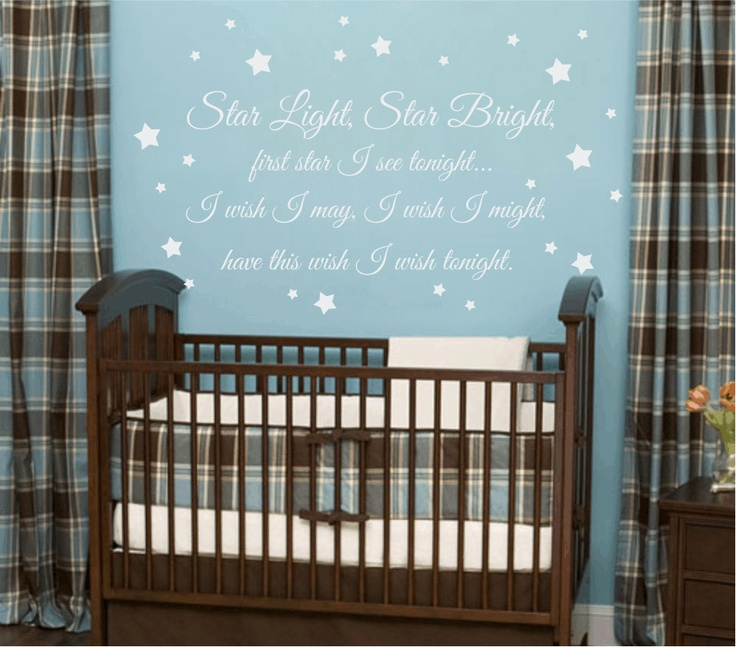Twinkle Twinkle Little Star Vinyl Wall Decal   Boy Girl Baby Nursery Wall  Quote Poem Saying Moon Stars Wall Art X I Like The Blue Wall With White  Decal. Part 49
