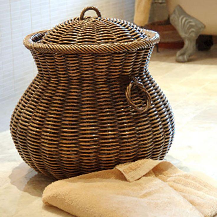 Ali Baba Style Wicker Laundry Basket in Chestnut