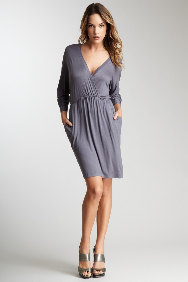 Frenzii | Long Sleeve Raglan Faux Wrap Dress with Sash and Pockets