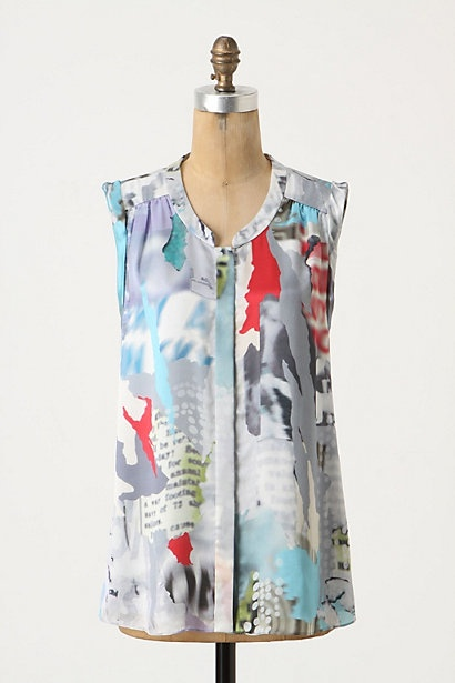 real press top y'all.: Street Blouses, Sleeveless Tops, Women Blouses, Vines Street, Clothing Inspiration, Water Colors, Anthropology Vines, Watercolor Prints, Blouses Front