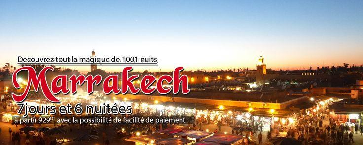 Découvrez toute la magie de 1001 nuits. Tout le charme oriental dans une seule ville Tarifs: Par personne dans une chambre double : Hôtel (6 nuits/7 jours) 3* a partir 230 dt 4* a partir 300 dt 5* a partir 400 dt Le forfait de base comprend : -Le billet d'avion aller retour sur un vol régulier avec une escale a Casablanca -6 nuits à Marrakesh à l'hôtel en logement avec petit déjeuner.