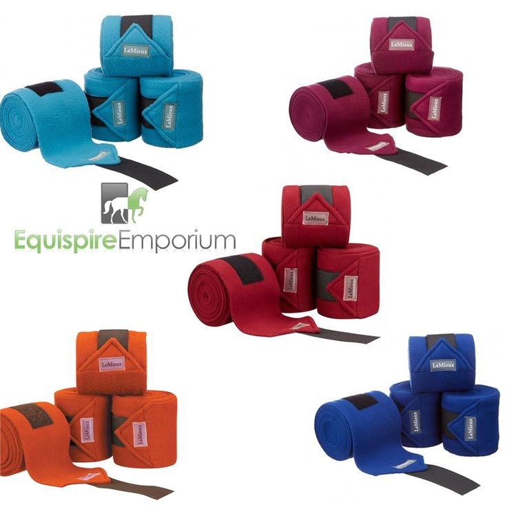 LeMieux luxury fleece bandages in gorgeous teal, burgendy, burnt orange, benetton blue, and autumn plum.