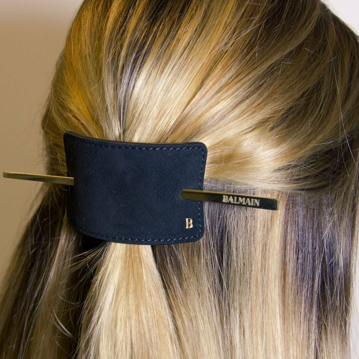 Add glamour to the most simple updo with the Balmain Hair Couture Leather Hair Barrette. Exclusively available from GlamIt.  http://www.glamit.co.za/balmain-hair/accessories