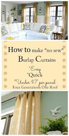 Easy Home DIY And Crafts: DIY How To Make Curtains Using Burlap