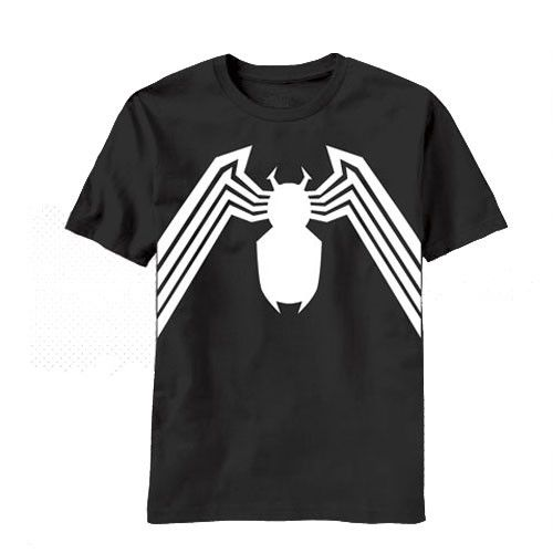 This is the ultimate Venom t-shirt. Giant white venom spider with legs spanning the width of the shirt. What makes it so ultimate? The venom spider is on both sides of the shirt. - 100% Cotton - Doubl