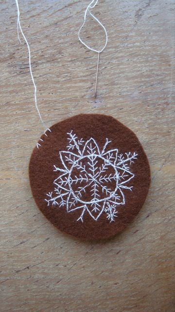 Inspiration for embroidered snowflake ornament.. I think I would like a blue background please