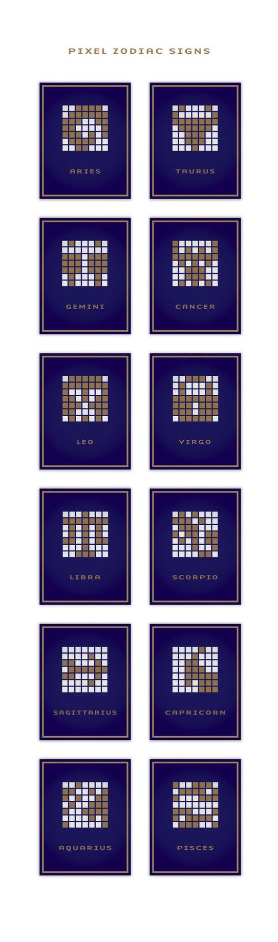 pixel zodiac signs by Laszlo Sandor, via Behance