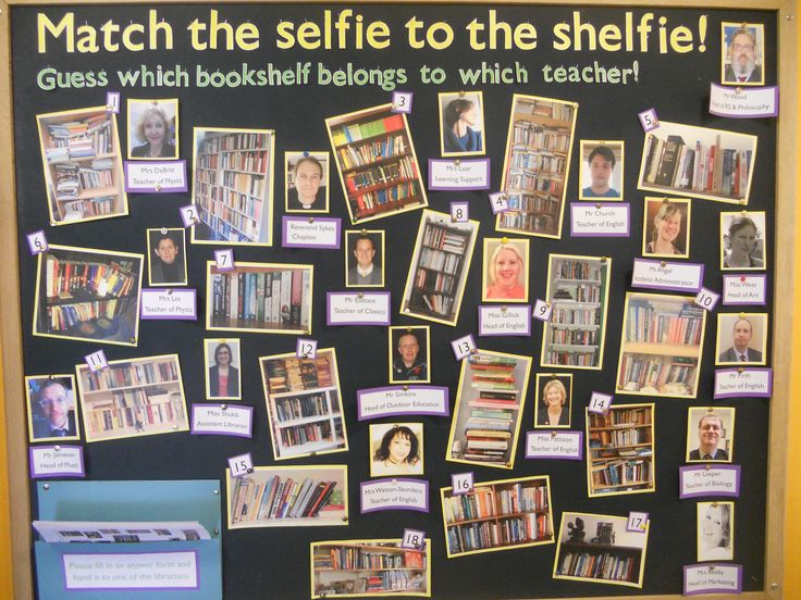 Match the shelfie to the Selfie (teacher to their home bookshelf) love this library bulletin board idea!