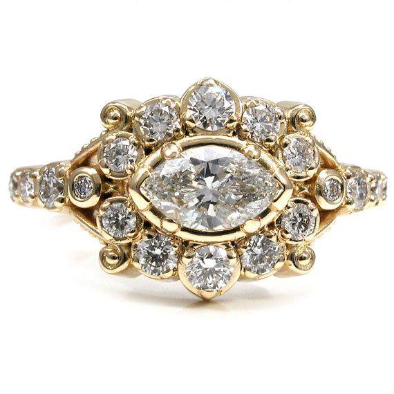 Marquise Diamond Belle Epoque Romantic Engagement Ring - 18k Yellow Gold Handmade Wedding Ring