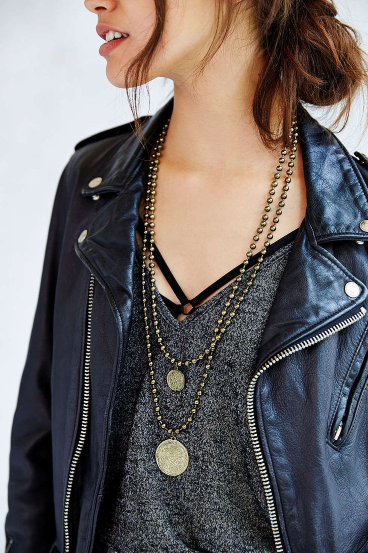 Set Sail Coin Beaded Necklace / brass gold / necklaces / grunge style / fashion / leather jacket / slouchy tops / casual tops / gray heather tops | Raddest Women's Fashion Looks On The Internet: http://www.raddestshe.com