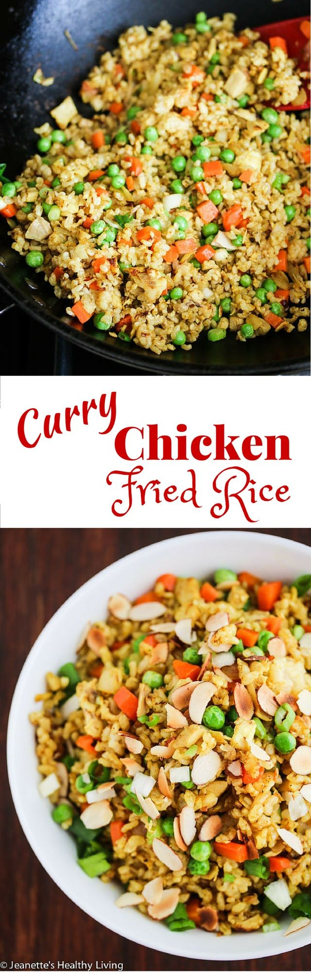 Curry Chicken Fried Rice - a quick, easy and healthy one-pan dinner made with leftover cooked chicken, brown rice, carrots and peas. Toasted almonds make a nice crunchy topping. ~ http://jeanetteshealthyliving.com #fcpinpartners