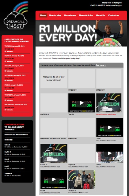 Dreamcall WordPress Site.  Photo, Youtube and custom posts feeds