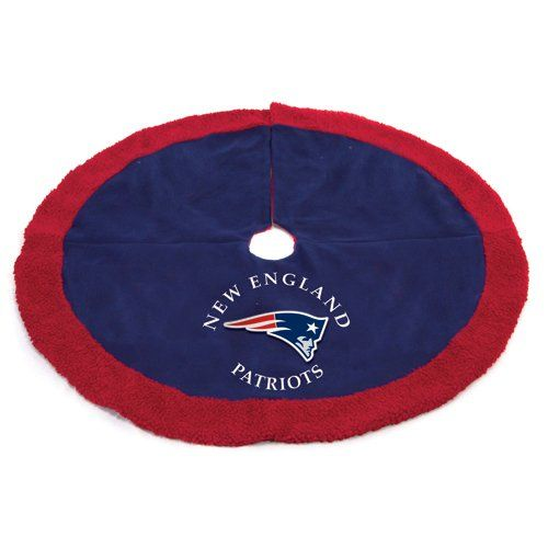 """$59.99-$75.00 48"""" NFL New England Patriots Logo Christmas Tree Skirt - New England Patriots Tree Skirt Item #07403 Officially licensed merchandise Add the finishing touch to your tree this Christmas season with this NFL logo tree skirt Features the authentic team colors and logo Dimensions: 48"""" diameter Hole diameter: 4.5""""  Material(s): polyester Care instructions: dry clean only http://www.amazon.com/dp/B003R05O2Y/?tag=pin2wine-20"""