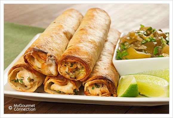 Baked Chicken Flautas with Chunky Tomatillo Sauce | MyGourmetConnection