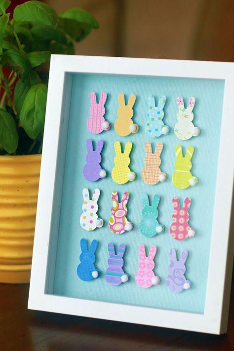 Bunte kleine Osterhasen aus Karton im Bilderrahmen #Ostern #diy