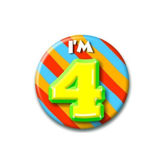 Speldje I am 4  Verjaardags button I am 4. Button in vrolijke kleuren met de opdruk: I am 4.  EUR 1.99  Meer informatie  #sinterklaas #zwartepiet