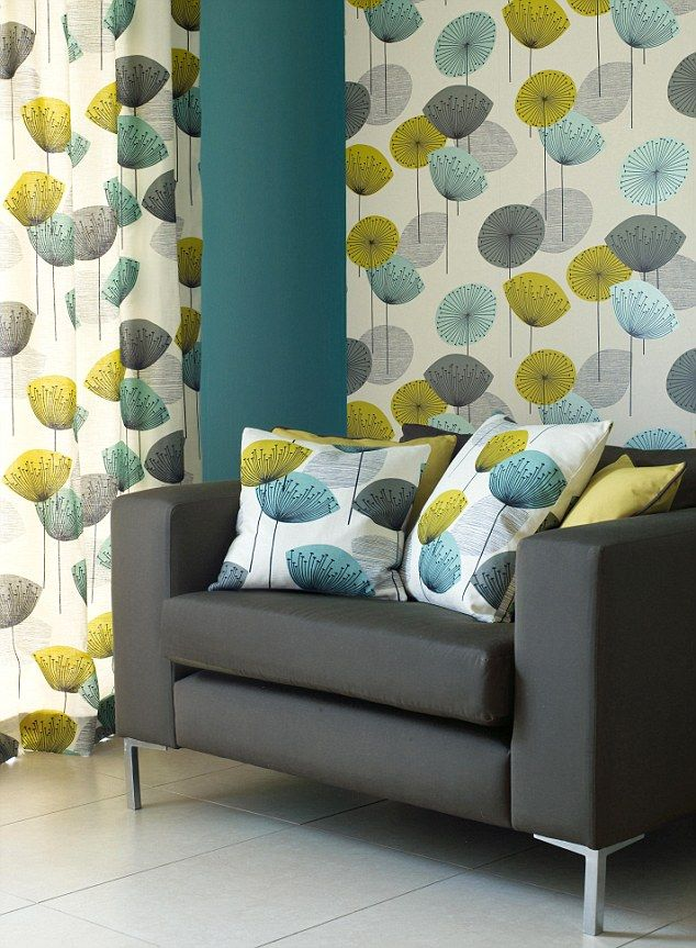 mid century modern wallpaper | Mid-century inspired: Sanderson Dandelion Clocks wallpaper, £29 per ...