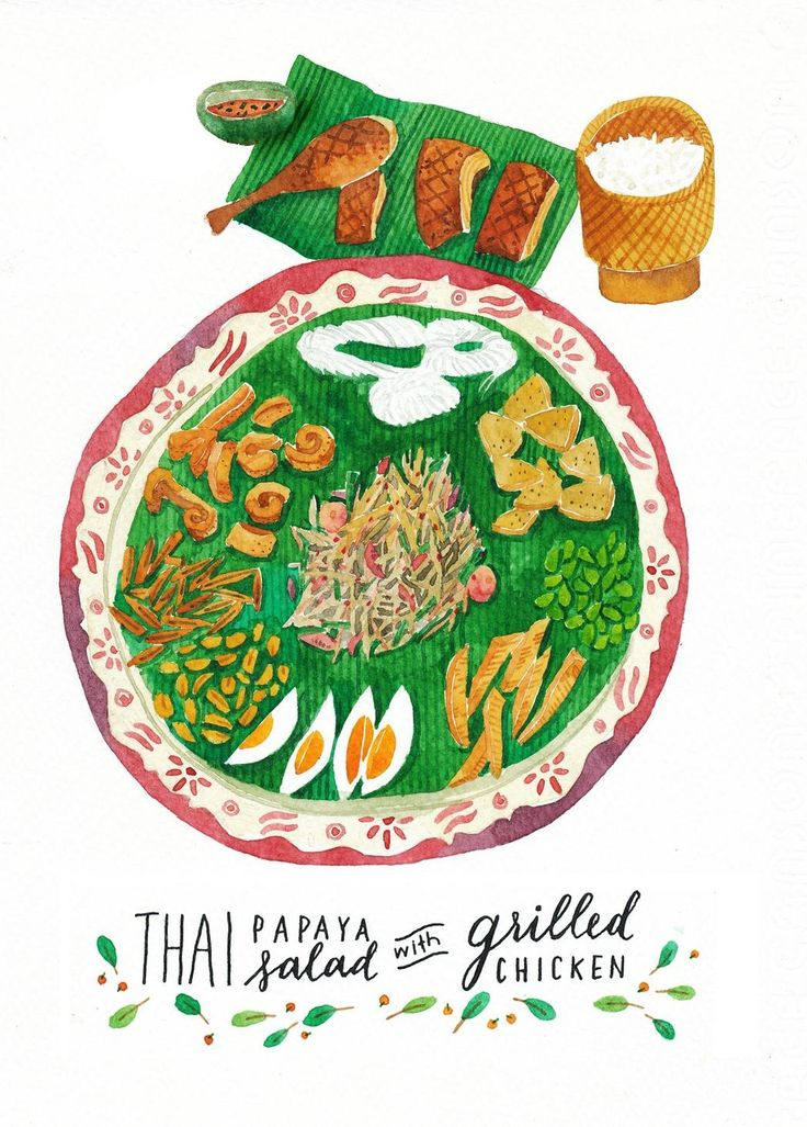 Thai papaya salad with grilled chicken