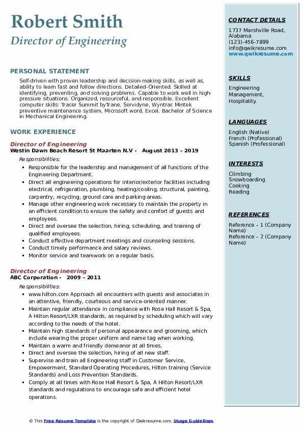 Director Of Engineering Resume Samples Qwikresume Event Planner Resume Engineering Resume Templates Engineering Resume
