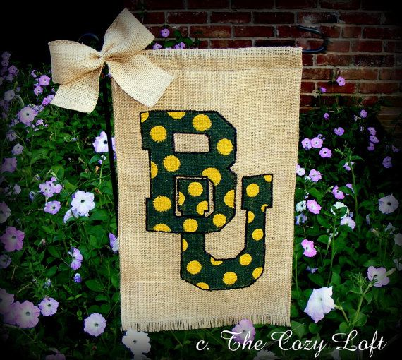 Baylor University Bu Burlap Garden Flag Green And Gold